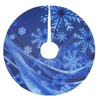 Breezy Blue Snowflakes Brushed Polyester Tree Skirt