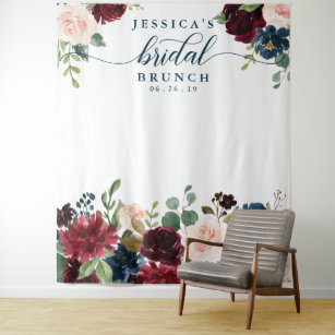breezy burgundy bridal shower backdrop photo booth
