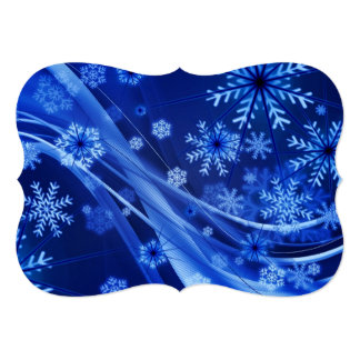 Breezy Christmastime Snowflakes on Blue 5x7 Paper Invitation Card