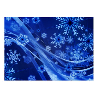 Breezy Christmastime Snowflakes on Blue Business Card Templates