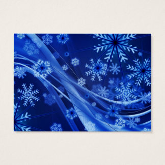Breezy Christmastime Snowflakes on Blue Business Card
