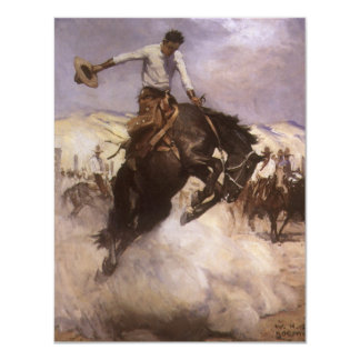 Breezy Riding by WHD Koerner, Vintage Rodeo Cowboy Announcement