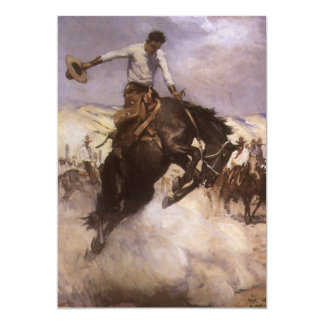 Breezy Riding by WHD Koerner, Vintage Rodeo Cowboy Personalized Invitation