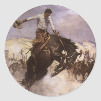 Breezy Riding by WHD Koerner, Vintage Rodeo Cowboy Round Stickers