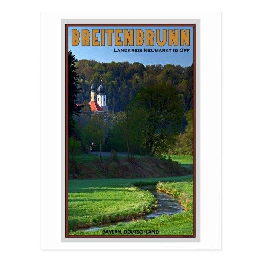 Breitenbrunn - Stream and Church Postcard