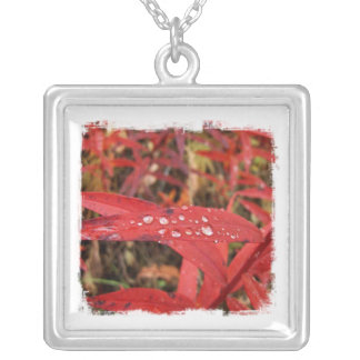 BREL Bright Red Leaves Square Pendant Necklace