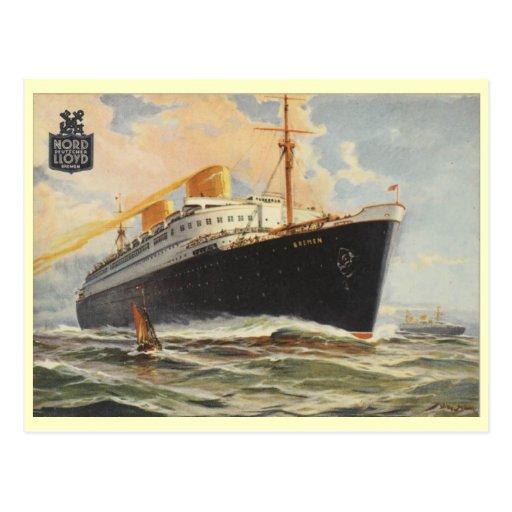 """Bremen"" 1929 Post Card"
