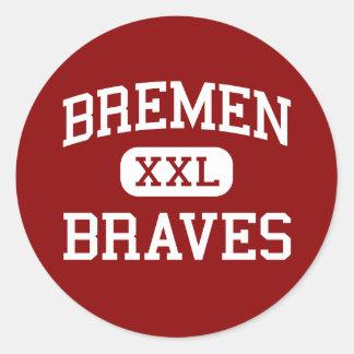 Bremen - Braves - altos - Midlothian Illinois Pegatina Redonda