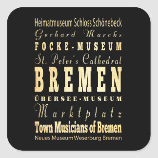 Bremen City of Germany Typography Art Square Sticker