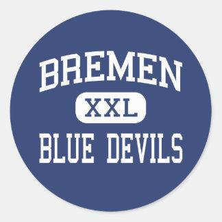 Bremen - diablos azules - alta - Bremen Georgia Etiquetas Redondas