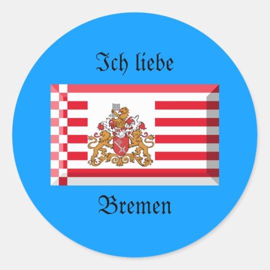 Bremen Flag Gem Classic Round Sticker