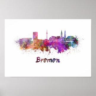 Bremen skyline in watercolor poster