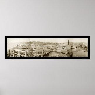 Bremerton, foto 1913 de la marina de guerra de WA Póster