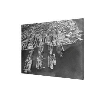 Bremerton, opinión aérea de WA de muelles de la ma Impresión En Lienzo