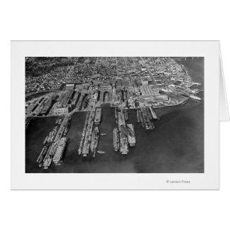 Bremerton, opinión aérea de WA de muelles de la ma Tarjeta De Felicitación