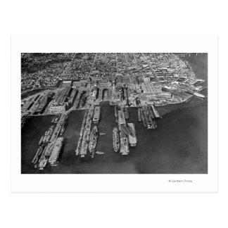 Bremerton, opinión aérea de WA de muelles de la Tarjeta Postal