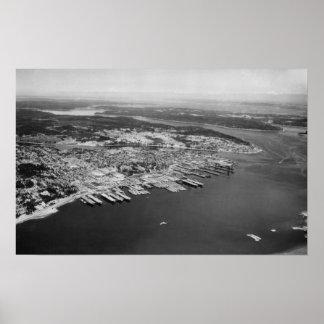 Bremerton, WA - vista aérea de la fotografía de la Póster