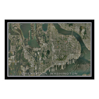 Bremerton Washington From Space Satellite Art Poster