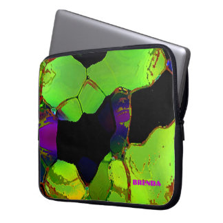 Brenda Black and Green laptop sleeve