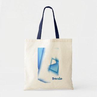 Brenda Blue combination Tote Bag over White