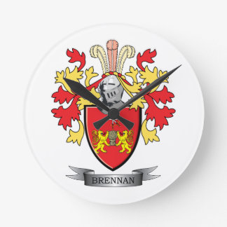Brennan Coat of Arms Round Clock