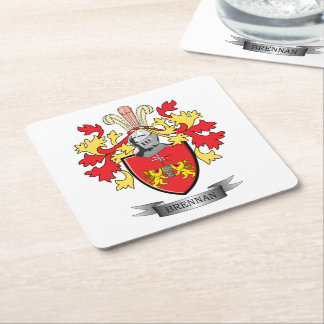 Brennan Coat of Arms Square Paper Coaster