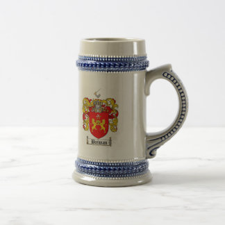 BRENNAN FAMILY CREST -  BRENNAN COAT OF ARMS BEER STEIN