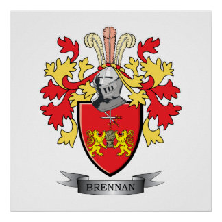 Brennan Family Crest Coat of Arms Poster