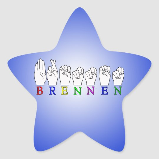 BRENNEN NAME ASL FINGERSPELLED SIGN STAR STICKER