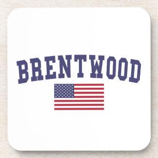 Brentwood CA US Flag Beverage Coaster