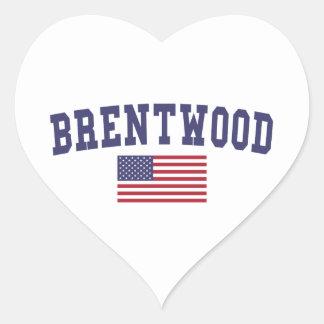 Brentwood CA US Flag Heart Sticker