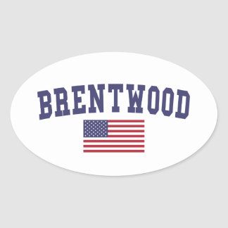 Brentwood CA US Flag Oval Sticker