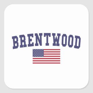 Brentwood CA US Flag Square Sticker