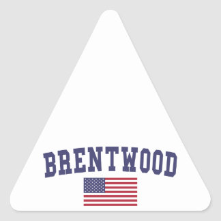 Brentwood CA US Flag Triangle Sticker