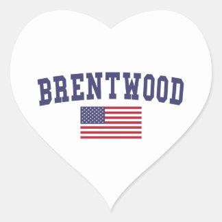 Brentwood TN US Flag Heart Sticker