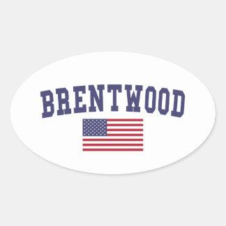 Brentwood TN US Flag Oval Sticker