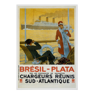 Bresil Brazil - Plata Vintage Ship Advertisement Poster