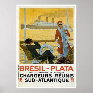 Bresil el Brasil - anuncio de la nave del vintage  Impresiones