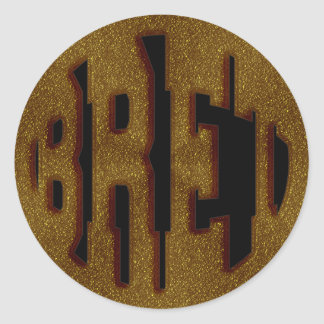 BRET - GOLD TEXT CLASSIC ROUND STICKER