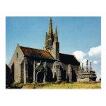 Bretaña, Thoneon, iglesia y calvary Tarjeta Postal