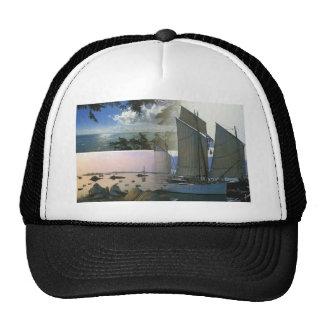 Breton boat  and rocky coast trucker hat