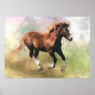 Breton draft horse foal print print