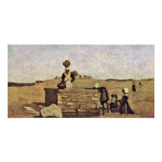 Bretón en la fuente de Corot Jean-Baptiste-Cami Tarjetas Con Fotos Personalizadas