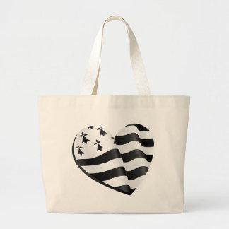 Breton flag heart large tote bag
