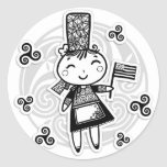 Breton girl classic round sticker