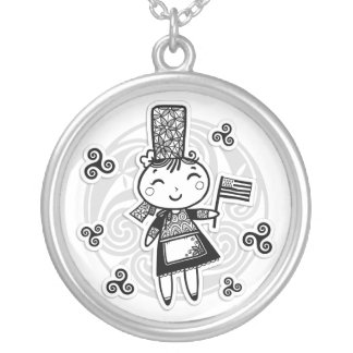 Breton girl silver plated necklace