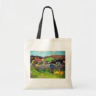 Breton Landscape With Swineherd By Gauguin Paul Bag