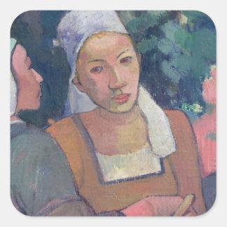 Breton Peasants, 1894 (oil on canvas) Square Sticker