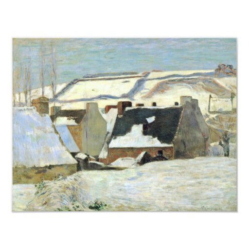 Breton Village In The Snow By Gauguin Paul 4.25x5.5 Paper Invitation Card