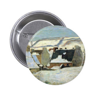 Breton Village In The Snow By Gauguin Paul Pinback Button